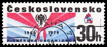 Pioneer Scarf, IYC Emblem, 30th Anniversary, International Year of the Child serie, circa 1979. MOSCOW, RUSSIA - FEBRUARY 22, 2019: A stamp printed in stock images
