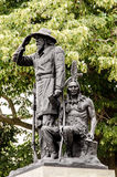 Pioneer Soldier Indian Guide bronze statue in front of Des Moine Stock Photography