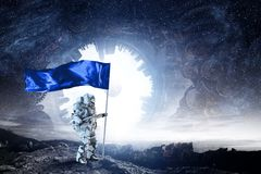 Pioneer of space. Mixed media. Astronaut man with flag in hand. Mixed media Royalty Free Stock Photo