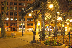 Pioneer square in Seattle at early spring night. Empty street. Royalty Free Stock Images