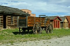 Pioneer Town. This is a view of historic cabins lining a boardwalk in a pioneer town stock image
