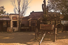 Pioneer-town Scene. This is a picture of Pioneer-town, an old and abandoned western movie set in the Mojave desert of California Royalty Free Stock Images
