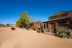 Pioneer town street with pottery store Stock Images