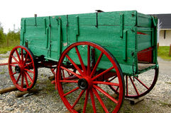 Pioneer Wagon. Brightly painted wooden pioneer wagon Royalty Free Stock Images