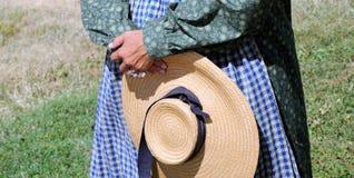 Pioneer woman reenactor. Stock Photos