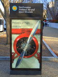 Pioneers of Flight exhibition. Notice at the main entrance to the Smithsonian Institution National Air & Space Museum in Washington DC, United States of America Royalty Free Stock Photos