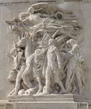 Pioneers. This is a picture of a sculpture locate on the Northwest pylon of the Michigan Avenue Bridge over the Chicago River in Chicago, Illinois.  The sculptor Stock Images