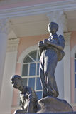 Pioneers. Sculpture of two boys pioneer front of the Palace of Children's Creativity Stock Photos