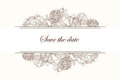 Pioner bryner kortet för sepiaöversiktshälsningen på beige bakgrund Blom- bröllopinbjudan stock illustrationer