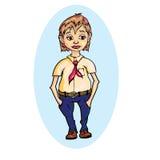 Pionero en pantalones azules Imagenes de archivo