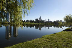 Pionersky park with pond and modern hotels reflection in Batumi Royalty Free Stock Image