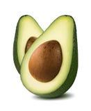 Pionowo avocado cięcia połówki odizolowywać na białym tle Zdjęcie Royalty Free