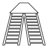 Pionowo drabiny ikona, konturu styl ilustracja wektor