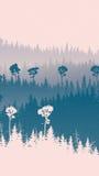 Pionowo ilustracja śnieżni lasowi wzgórza Zdjęcia Stock
