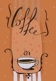 Pionowo ilustracja z ręka rysującym literowaniem z słowo kawą, kropkami i gorącym napojem w ślicznej filiżance, Pomarańczowy kolo Obrazy Stock