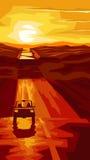 Pionowo ilustracyjna droga z samochodem przy zmierzchem Zdjęcia Royalty Free