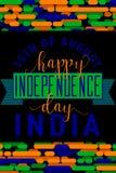 Pionowo kreatywnie wektorowa ilustracja felicitation India dzień niepodległości 15 august z literowaniem, typografia Zdjęcia Stock