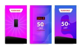 Pionowo nowożytny rzadkopłynny sztandaru szablon z gradientowym błękitem, menchia, purpurowy mroczny kolor dla sprzedaży promocji ilustracji