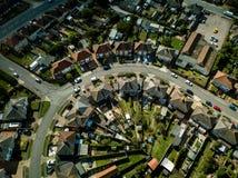 Pionowo panoramiczny widok z lotu ptaka podmiejscy domy w Ipswich, UK zdjęcie stock