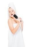 Pionowo portret piękna dziewczyna, jej hobby śpiew Zdjęcia Stock