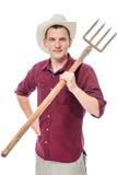 Pionowo portret rolnik na białym tle Zdjęcie Royalty Free
