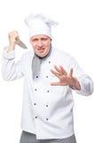 Pionowo portret szaleni agresywni szefowie kuchni na bielu Fotografia Royalty Free
