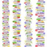 Pionowo prosty bezszwowy stos książki Podręczniki w kolorowych pokrywach Kolekcja książki i czytanie dokumenty ilustracja wektor