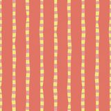Pionowo ręka rysujący lampasa korala menchii żółty bezszwowy wektorowy tło Nieregularne linie powtarza abstrakta wzór ilustracja wektor