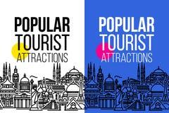 Pionowo sztandar z bezszwowym pejzażem miejskim światy najwięcej popularnych atrakcji turystycznych Nowożytna mieszkanie linii we obraz royalty free
