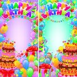 Pionowo sztandaru urodzinowy jaskrawy z przestrzenią dla teksta Obrazy Royalty Free