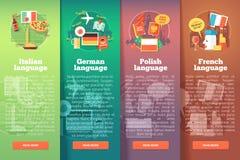 Pionowo sztandary ustawiający język obcy szkoły Płascy wektorowi kolorowi ilustracyjni pojęcia włoszczyzna, niemiec, połysk ilustracja wektor