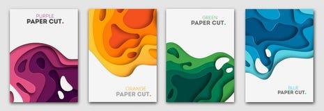 Pionowo sztandary ustawiający z 3D tła i papieru cięcia abstrakcjonistycznymi kształtami Wektorowy projekta układ dla biznesowych ilustracji