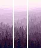 Pionowo sztandary wzgórza iglasty drewno. Royalty Ilustracja