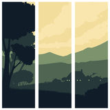Pionowo sztandary z sylwetka wiejskim krajobrazem Ilustracja Wektor