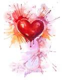 Pionowo tło z czerwonym akwareli sercem Fotografia Royalty Free