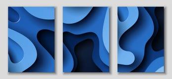 Pionowo A4 ulotki z 3D abstrakcjonistycznym tłem z papieru rżniętym błękitem machają Wektorowy projekta układ royalty ilustracja