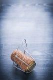 Pionowo widok na korku szampan z drutem Fotografia Royalty Free