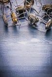 Pionowo widok sterty druty szampanów korki Zdjęcia Stock