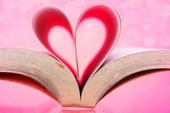 Pionowo wizerunek książkowe strony w kierowego kształt różowy tło Zdjęcie Stock
