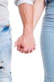 Pionowo zbliżenie para wręcza trzymać wpólnie Zdjęcie Royalty Free