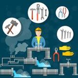 Pionujący drymba hydraulika wytłacza wzory instalacj wodnokanalizacyjnych usługa ilustracji