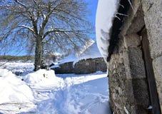 Piornedo, Ancares, Galiza, Espanha Casas nevados antigas do palloza feitas com pedra e palha Vila coberta com a neve fotografia de stock