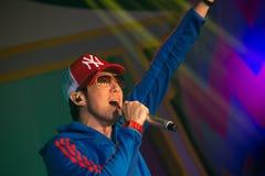 Piosenkarz J Jetrin na scenie 06 2014 przy Pataya Tajlandia Obraz Royalty Free