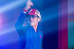 Piosenkarz J Jetrin na scenie 06 2014 przy Pataya Tajlandia Zdjęcia Stock