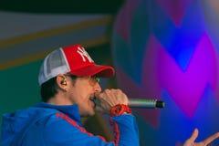 Piosenkarz J Jetrin na scenie 06 2014 przy Pataya Tajlandia Obraz Stock