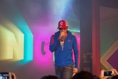 Piosenkarz J Jetrin na scenie 06 2014 przy Pataya Tajlandia Fotografia Stock