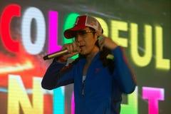 Piosenkarz J Jetrin na scenie 06 2014 przy Pataya Tajlandia Obrazy Royalty Free