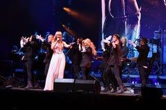 Piosenkarz Valeria wykonuje na scenie podczas Viktor Drobysh roku urodziny 50th koncerta przy Barklay centrum Zdjęcie Royalty Free