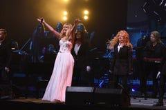 Piosenkarz Valeria wykonuje na scenie podczas Viktor Drobysh roku urodziny 50th koncerta przy Barklay centrum Obraz Royalty Free