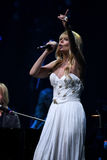 Piosenkarz Valeria wykonuje na scenie podczas Viktor Drobysh roku urodziny 50th koncerta przy Barklay centrum Fotografia Royalty Free